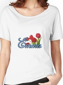 Emma With Red Tulips and Cobalt Blue Script Women's Relaxed Fit T-Shirt