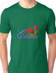 Emma With Red Tulips and Cobalt Blue Script Unisex T-Shirt