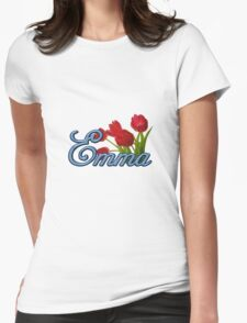 Emma With Red Tulips and Cobalt Blue Script Womens Fitted T-Shirt