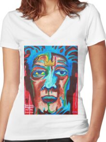 'Portrait of Jean-Michel Basquiat' Women's Fitted V-Neck T-Shirt