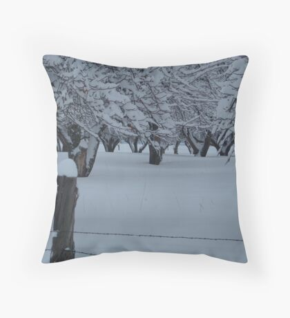 apple tree winter Throw Pillow