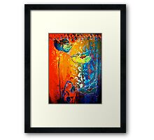 The Poppy Journals...Blue and Red Framed Print