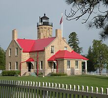 Old Mackinac Point Light {and keeper's cottage} by WonderlandGlass