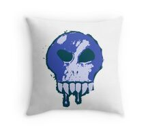 Skull - Blue Throw Pillow