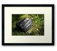Baseball glove in the grass Framed Print
