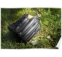 Baseball glove in the grass Poster