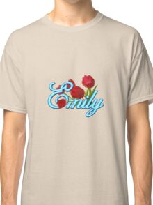 Emily With Red Tulips and Neon Blue Script Classic T-Shirt