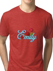 Emily With Red Tulips and Neon Blue Script Tri-blend T-Shirt