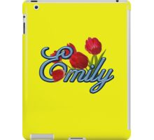 Emily With Red Tulips and Cobalt Blue Script iPad Case/Skin