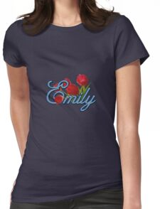 Emily With Red Tulips and Cobalt Blue Script Womens Fitted T-Shirt