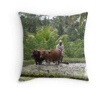 Oxen at work Throw Pillow