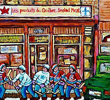 MONTREAL ART CANADIAN PAINTINGS FOR SALE POINTE ST.CHARLES DELI SMOKED MEAT by Carole  Spandau