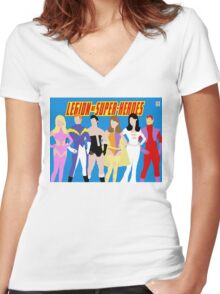 Legion of Super-Heroes Minimal 1 Women's Fitted V-Neck T-Shirt