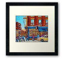 CANADIAN PAINTINGS ST.VIATEUR BAGEL SHOP WITH STREET HOCKEY GAME Framed Print