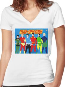 Legion of Super-Heroes Minimal 3 Women's Fitted V-Neck T-Shirt