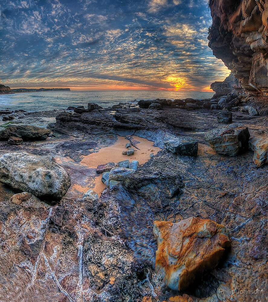 Textures - Warriewood Beach Headland, Sydney (35 Exposure HDR Panoramic) The HDR Experience  by Philip Johnson