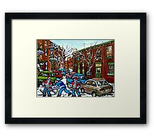 RUE GRAND TRUNK POINTE ST.CHARLES MONTREAL HOCKEY STREET AFTER THE SNOWFALL Framed Print