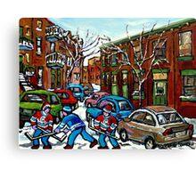 RUE GRAND TRUNK POINTE ST.CHARLES MONTREAL HOCKEY STREET AFTER THE SNOWFALL Canvas Print