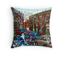 RUE GRAND TRUNK POINTE ST.CHARLES MONTREAL HOCKEY STREET AFTER THE SNOWFALL Throw Pillow