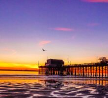 Newport Pier Sunset Sticker