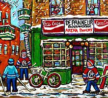 VINTAGE MONTREAL ARENA BAKERY SNOWY DAY FUN PLAYING STREET HOCKEY by Carole  Spandau