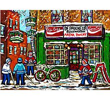 VINTAGE MONTREAL ARENA BAKERY SNOWY DAY FUN PLAYING STREET HOCKEY Photographic Print