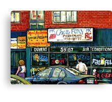 VINTAGE MONTREAL KOSHER RESTAURANTS CHEZ FOXY RUE VICTORIA Canvas Print
