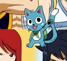 Fairy Tail WITH NAMES Erza, Gray, Natsu, Lucy & Happy Sticker