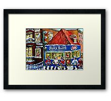 HOCKEY TOWN MONTREAL WINTER STREET SCENES KIDS PLAYING HOCKEY NEAR DAIRY QUEEN Framed Print