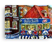 HOCKEY TOWN MONTREAL WINTER STREET SCENES KIDS PLAYING HOCKEY NEAR DAIRY QUEEN Canvas Print