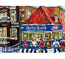 HOCKEY TOWN MONTREAL WINTER STREET SCENES KIDS PLAYING HOCKEY NEAR DAIRY QUEEN Photographic Print