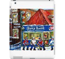 HOCKEY TOWN MONTREAL WINTER STREET SCENES KIDS PLAYING HOCKEY NEAR DAIRY QUEEN iPad Case/Skin
