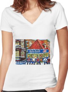 HOCKEY TOWN MONTREAL WINTER STREET SCENES KIDS PLAYING HOCKEY NEAR DAIRY QUEEN Women's Fitted V-Neck T-Shirt