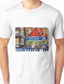 HOCKEY TOWN MONTREAL WINTER STREET SCENES KIDS PLAYING HOCKEY NEAR DAIRY QUEEN Unisex T-Shirt