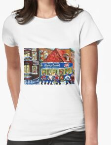HOCKEY TOWN MONTREAL WINTER STREET SCENES KIDS PLAYING HOCKEY NEAR DAIRY QUEEN Womens Fitted T-Shirt