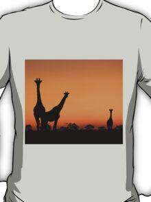 Giraffe Silhouette - African Wildlife Background - Grace and Elegance T-Shirt