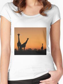 Giraffe Silhouette - African Wildlife Background - Grace and Elegance Women's Fitted Scoop T-Shirt
