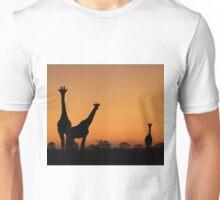 Giraffe Silhouette - African Wildlife Background - Grace and Elegance Unisex T-Shirt