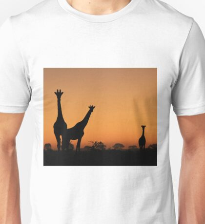 Giraffe Silhouette - African Wildlife Background - Grace and Elegance Unisex T-Shirt
