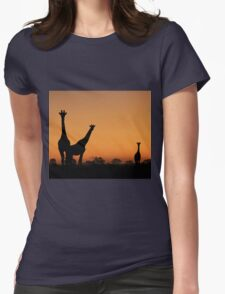 Giraffe Silhouette - African Wildlife Background - Grace and Elegance Womens Fitted T-Shirt