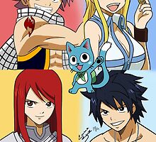 Fairy Tail WITHOUT NAMES Erza, Gray, Natsu, Lucy & Happy by Under The  Horizon