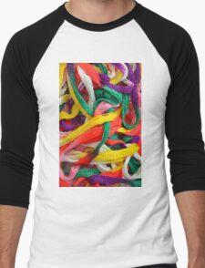 Colorful yarn pattern Men's Baseball ¾ T-Shirt