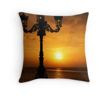 Sunset behind Cast iron Lampost Throw Pillow