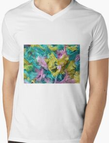 Colorful yarn pattern Mens V-Neck T-Shirt
