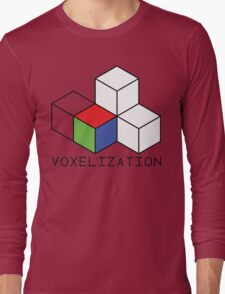 Pixel 3D Voxelization Nerd Computer Graphic Render Long Sleeve T-Shirt