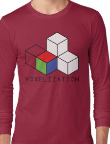 Pixel 3D Voxelization Nerd Computer Graphic Render Long Sleeve T-Shirt