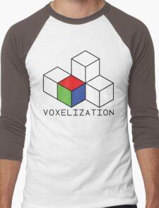 Pixel 3D Voxelization Nerd Computer Graphic Render Men's Baseball ¾ T-Shirt