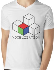 Pixel 3D Voxelization Nerd Computer Graphic Render Mens V-Neck T-Shirt