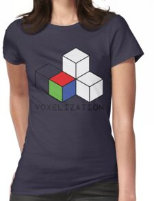 Pixel 3D Voxelization Nerd Computer Graphic Render Womens Fitted T-Shirt