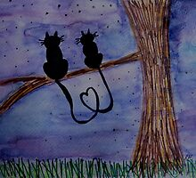 Cats in Love Gazing at the Night Stars by RaquelMorales